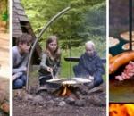 Edelstahl Schwenkgrill mit Erdspiess und Rost, Wok und Wikingerplatte kombinierbar für Camping, Lagerfeuer und Feuerstellen outdoor