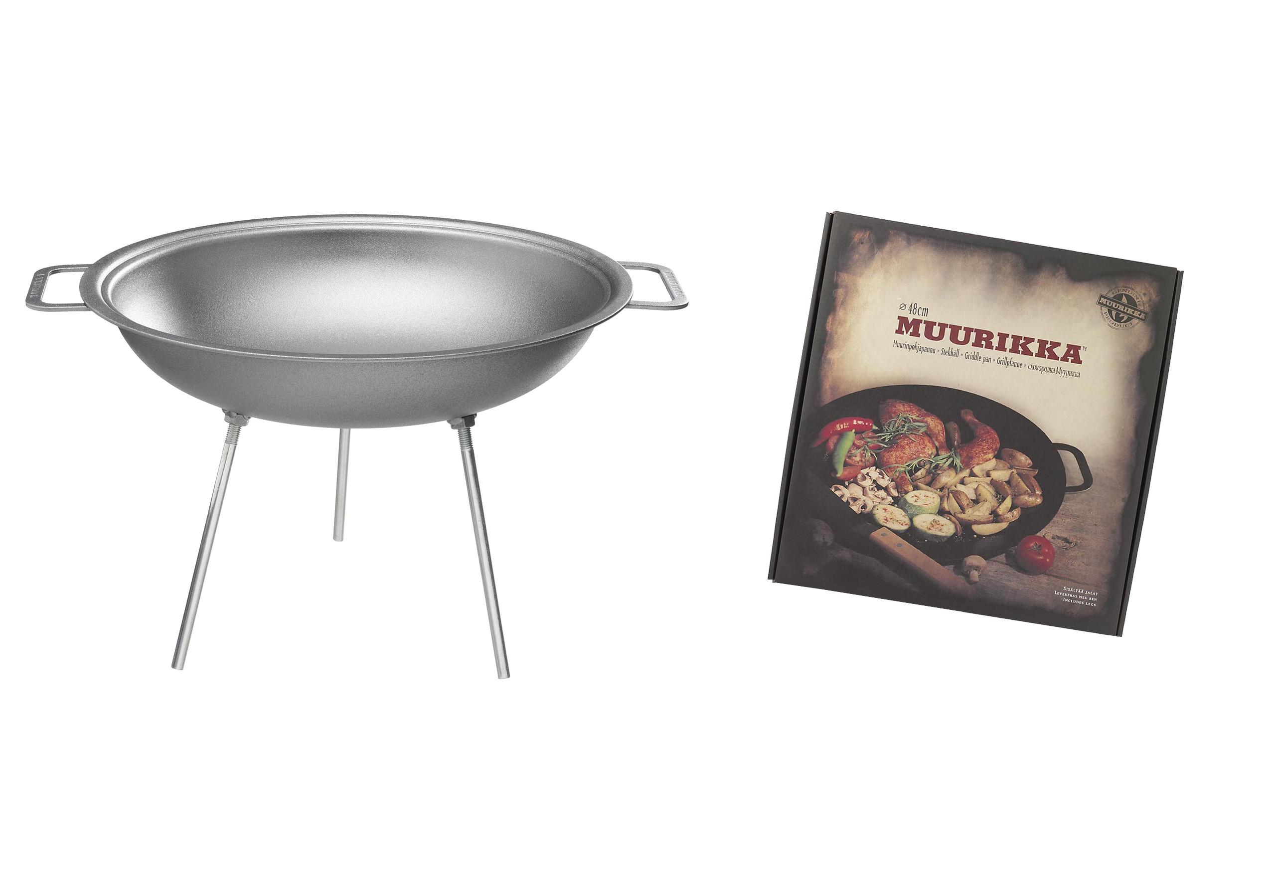muurikka wok 43cm stahl 9l inkl anschraubbaren beinen sandwichmaker waffeleisen. Black Bedroom Furniture Sets. Home Design Ideas